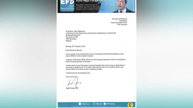 This is the letter Nigel Farage has written to the EU's chief negotiator Michel Barnier.