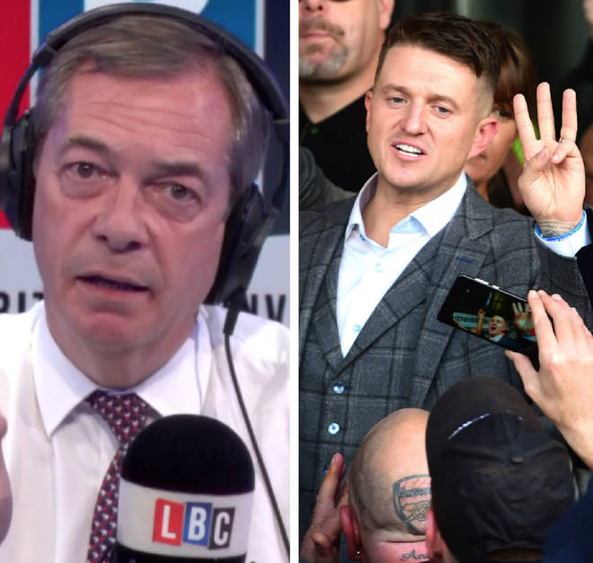 Nigel Farage gave his response over Ukip and Tommy Robinson on Thursday