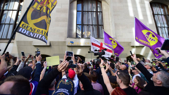 Ukip supporters appeared outside the Old Bailey