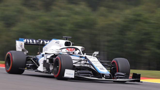 Williams' British driver George Russell during the second practice session at the Spa-Francorchamps circuit