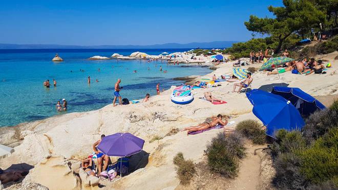 Portokali beach in Sithonia Chalkidiki, near Sarti, Greece