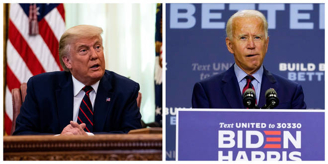 President Donald Trump (L) and Democratic nominee Joe Biden (R)