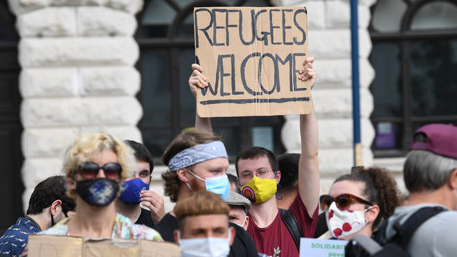 Pro-migrant demonstrators also gathered in Dover