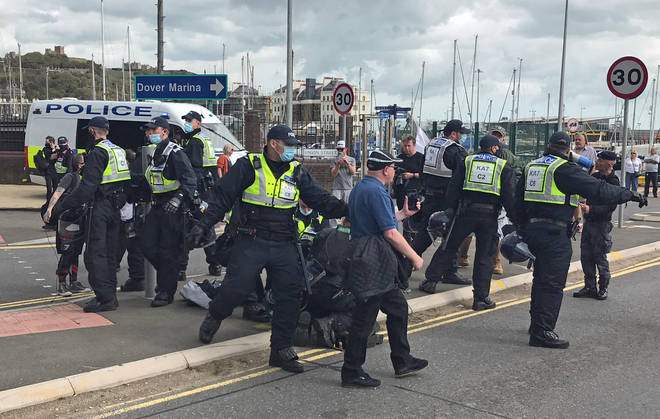 There is a heavy police presence in Dover