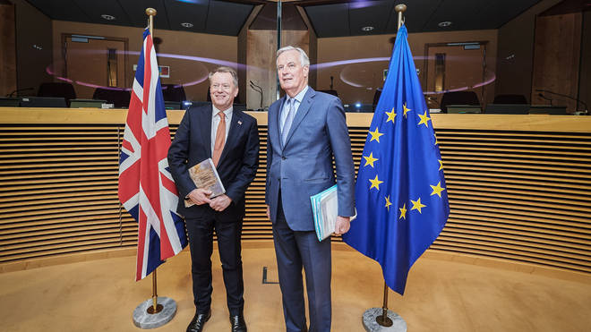 David Frost and Michel Barnier pictured before the coronavirus pandemic