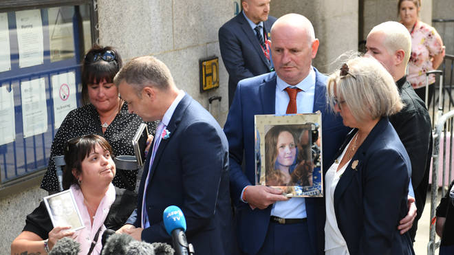 Family members of victims of the Manchester Arena bombing, outside the Old Bailey in London, after terrorist Hashem Abedi was sentenced