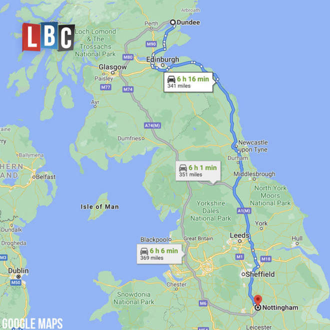 The 341 mile journey from Nottingham to Dundee