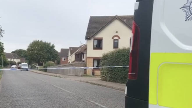 Police at the scene of the shooting in Kesgrave