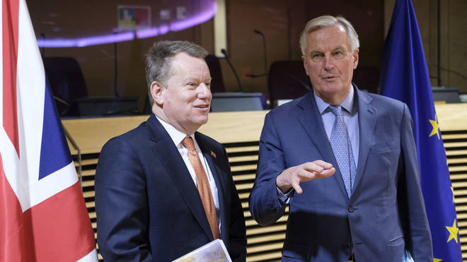 """Lord Frost (L) is demanding """"more realism"""" from Michel Barnier (R) and the EU"""