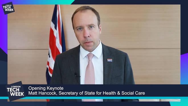Matt Hancock speaks during London Tech Week
