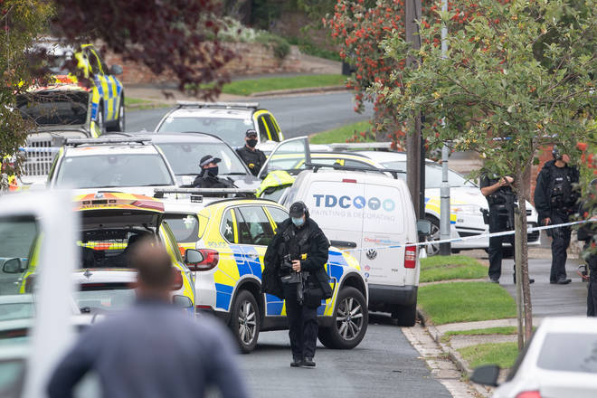 Police officers at the scene of the shooting in Kesgrave