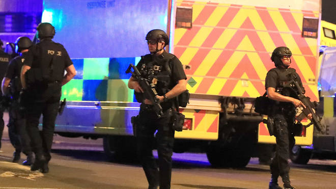 Police outside the Manchester arena following the attack