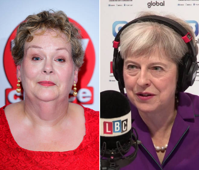 Theresa May and Anne Hegerty