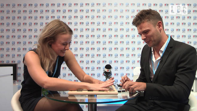 Two young Conservatives play Chequers Checkers