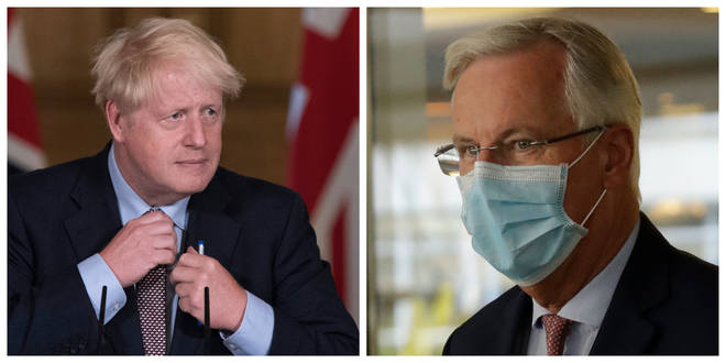 Boris Johnson (left) and EU Chief Brexit Negotiator Michel Barnier