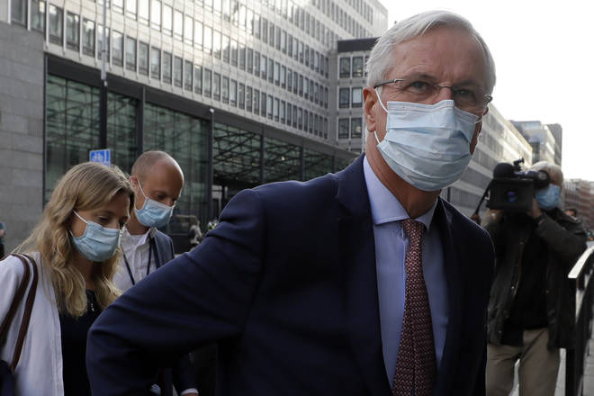 Michel Barnier pictured at talks in London this week