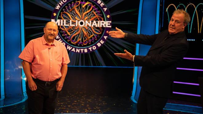 Millionaire winner Donald Fear with host Jeremy Clarkson
