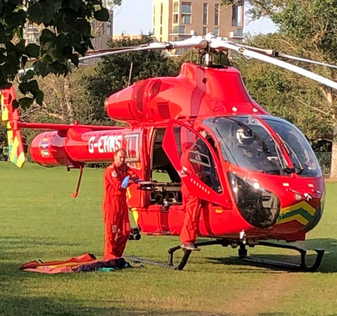 Pictures on social media show the air ambulance at the scene