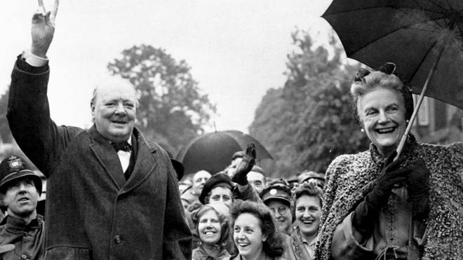 Sir Winston Churchill with his wife Clementine at Loughton
