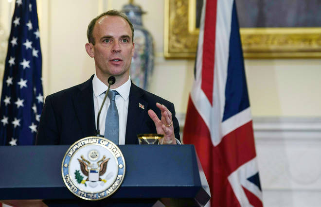 Foreign secretary Dominic Raab claimed the EU is putting peace in Northern Ireland at risk during a visit to the US
