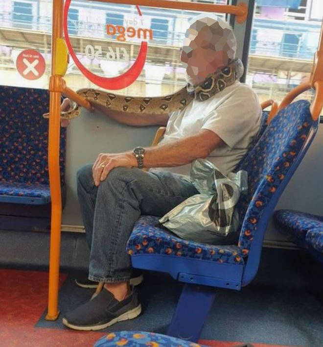 The man was pictured with the reptile on board a bus