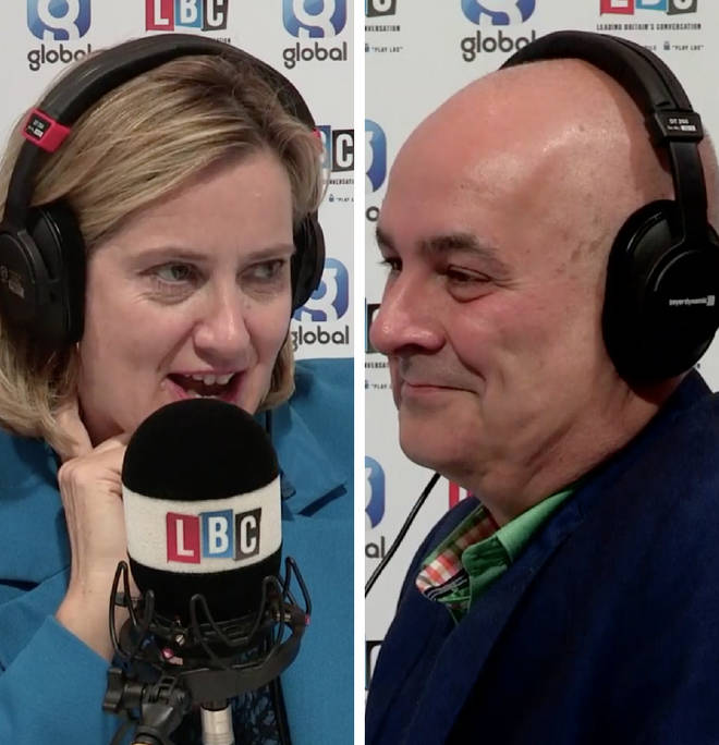 Amber Rudd speaking to Iain Dale