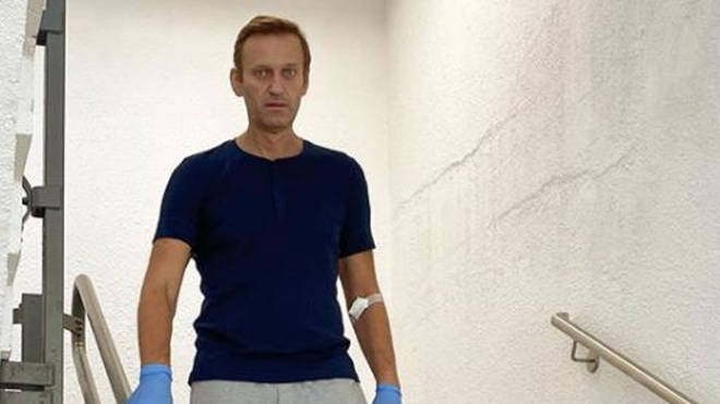 Alexei Navalny has been pictured walking down stairs