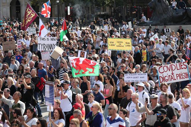 Hundreds have gathered in Trafalgar Square
