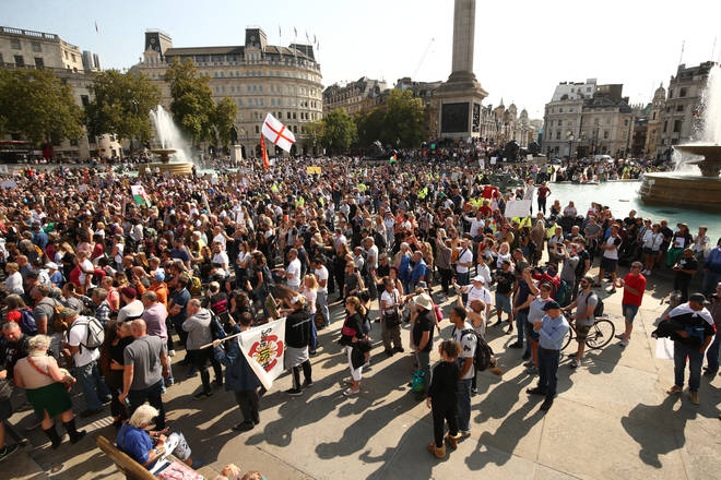 Police have told the protesters to leave Trafalgar Square
