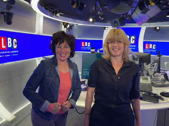 Rachel Johnson and Ruby Wax in the LBC studio