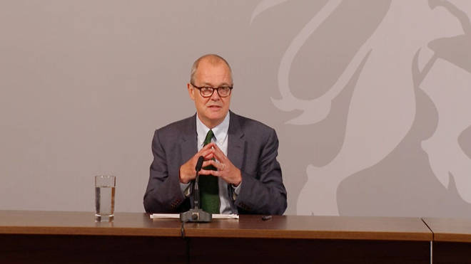 Sir Patrick Vallance speaking at a Downing Street briefing