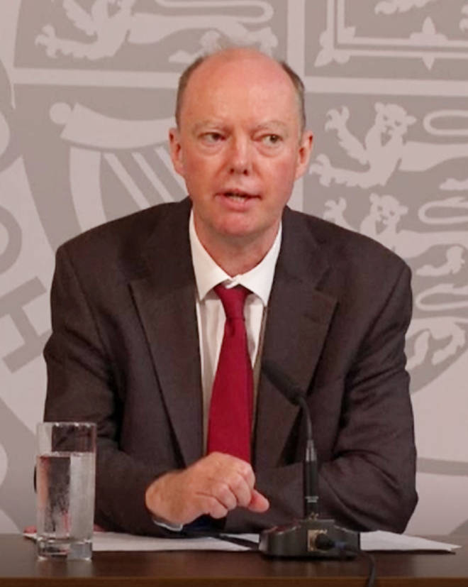 Chief medical officer Professor Chris Whitty also spoke at the briefing