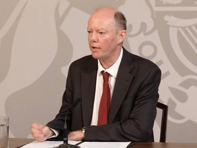 Professor Chris Whitty spoke at the press briefing on Monday