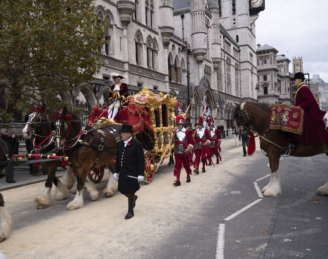 The Lord Mayor's Coach arrives at The Royal Courts of Justice during the Lord Mayor's Show The Lord Mayor???s Coach arrives at The Royal Courts of Justice during the Lord Mayor's Show