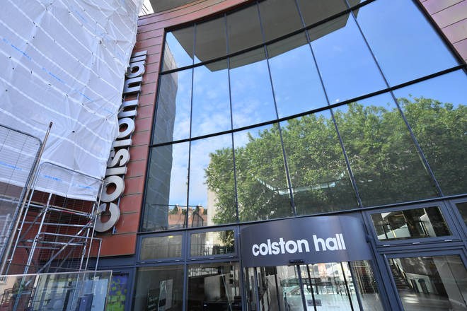 Scaffolding outside Bristol music venue Colston Hall for the removal of the name of 17th century merchant Edward Colston