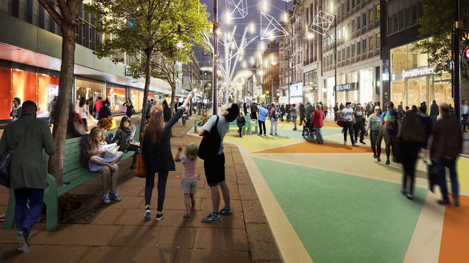 A pedestrianised Oxford Street at night