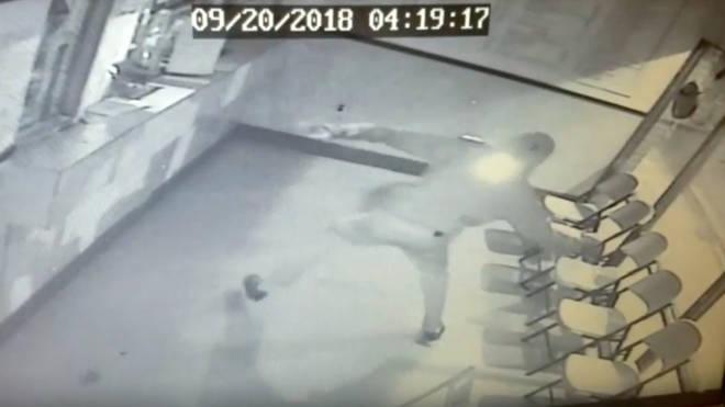 Burglar gets hit by brick