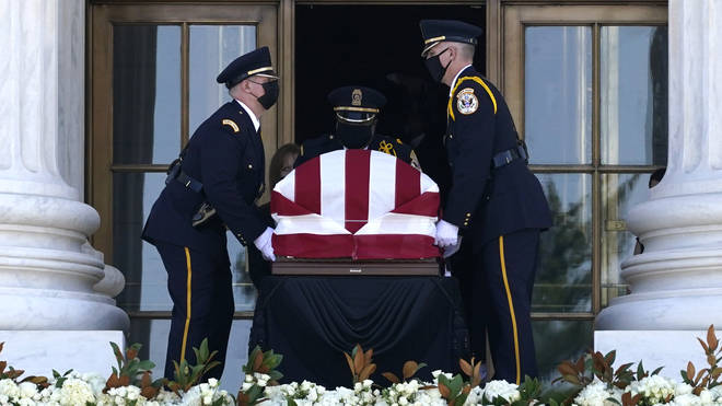 Ruth Ginsburg's flag-draped coffin arrives at the Supreme Court