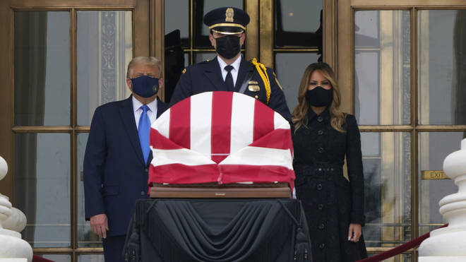President Donald Trump and first lady Melania Trump pay respects as Justice Ruth Bader Ginsburg lies in repose at the Supreme Court