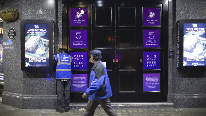 An inspector checks the doors of the Hippodrome Casino in Leicester Square