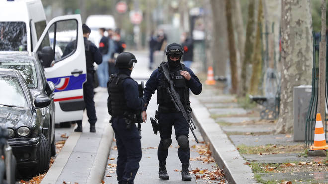 Riot police officers on the streets of Paris