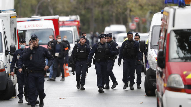 French police officers on patrol in Paris