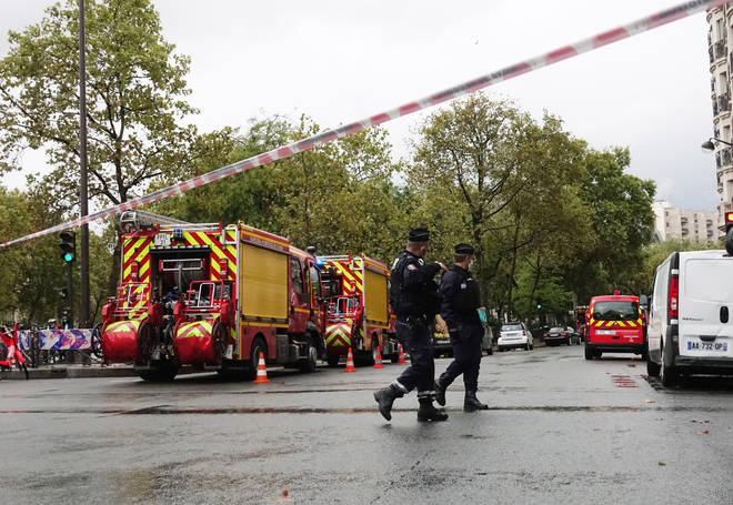 Police officers at the scene in Paris