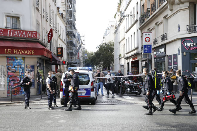 The crime scene near the former Charlie Hebdo offices in Paris