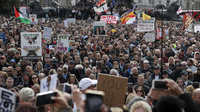 Thousands of people joined the rally in Trafalgar Square