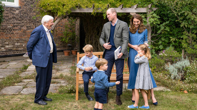 Sir David chatted with the Duke and Duchess, and their three children
