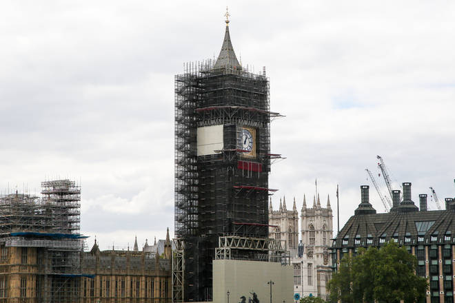 View of the Big Ben (under renovation) also known as Elizabeth Tower in Westminster, London