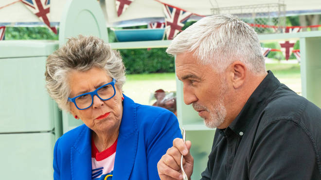 Prue Leith (left) judges the Bake Off competition alongside chef Paul Hollywood (right)
