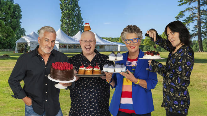 From left to right: Paul Hollywood, Matt Lucas, Prue Leith and Noel Fielding