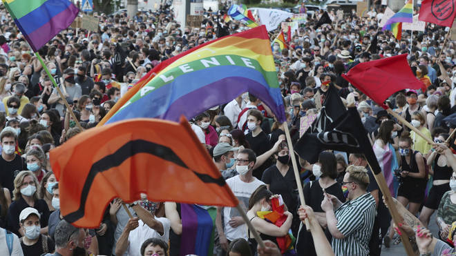 LGBT rights supporters protest against rising homophobia in Warsaw